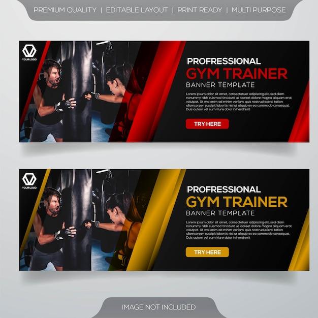 Projeto de banner de instrutor de ginástica profissional Vetor Premium