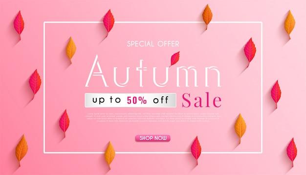 Projeto de banner de vendas outono com folhas de outono sazonais coloridas e fundo de publicidade outono conceito Vetor Premium