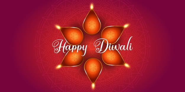 Projeto de banner decorativo para diwali com lâmpadas a óleo Vetor Premium