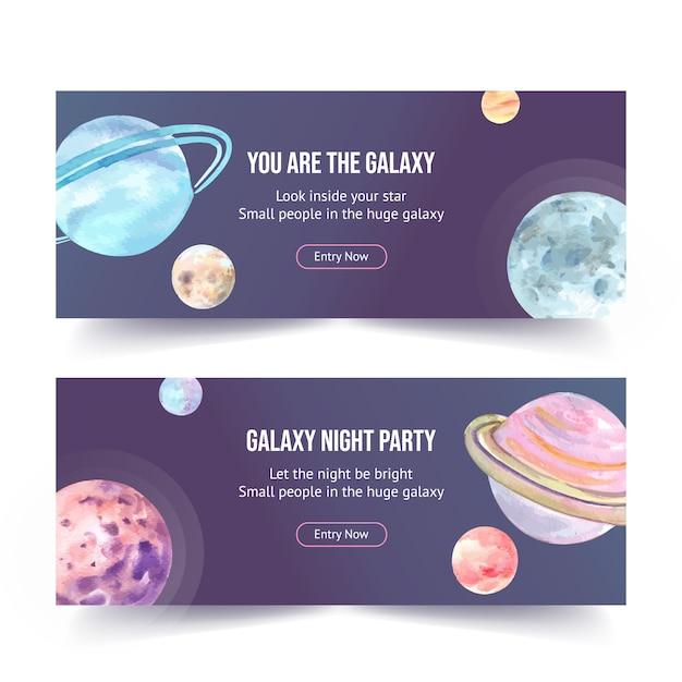 Projeto de banner galáxia com ilustração em aquarela de planetas. Vetor grátis