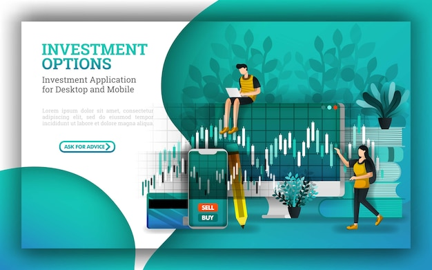 Projeto de banner para opções de investimento e serviços bancários financeiros Vetor Premium