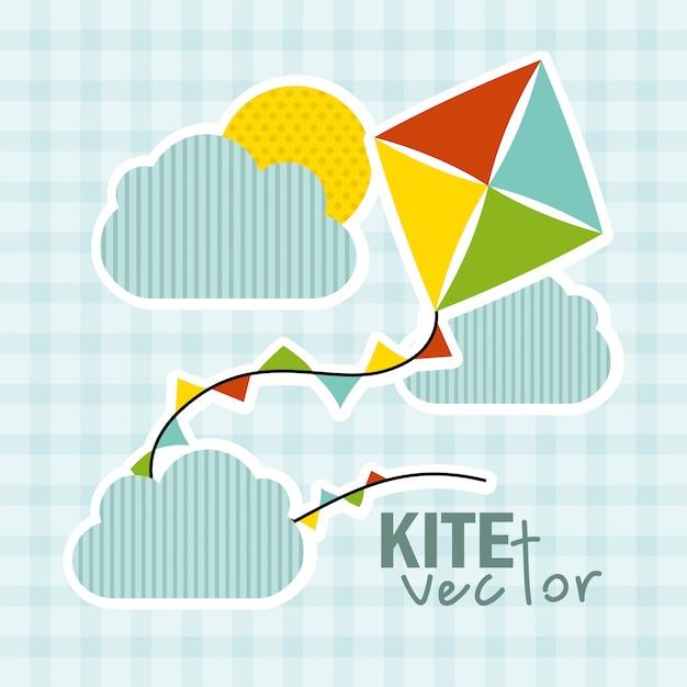 Projeto de bebê de brinquedo sobre ilustração vetorial de fundo azul Vetor Premium