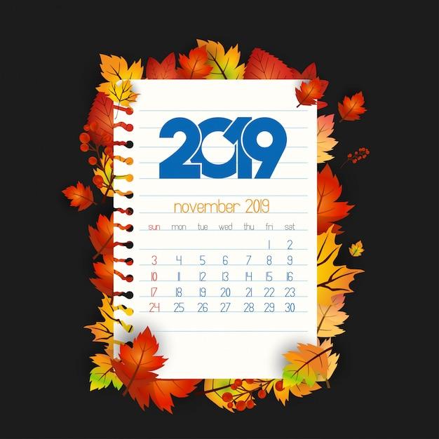 Projeto de calendário 2019 com vetor de fundo escuro Vetor grátis
