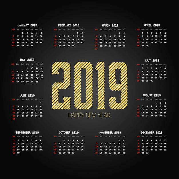 Projeto de calendário 2019 com vetor de fundo preto Vetor grátis