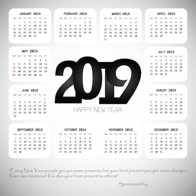 Projeto de calendário 2019 com vetor de luz de fundo Vetor grátis