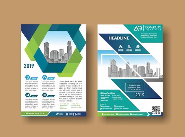 Projeto de capa de layout folheto de relatório anual Vetor Premium