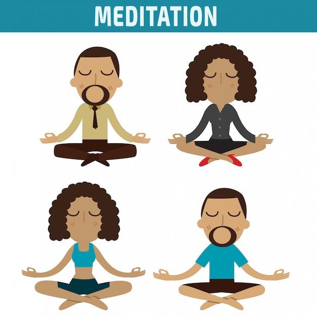 Projeto de caráter americano africano da meditação Vetor Premium