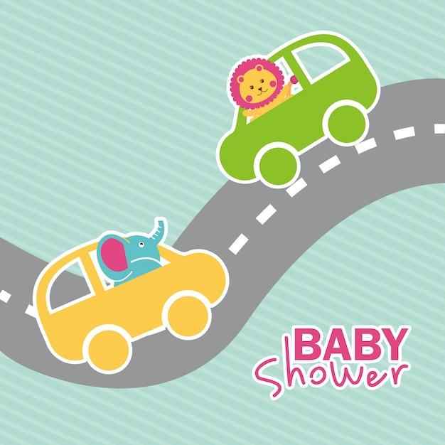 Projeto de chuveiro de bebê sobre ilustração vetorial de fundo azul Vetor Premium