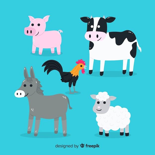 Projeto de coleção animal amigável dos desenhos animados Vetor grátis