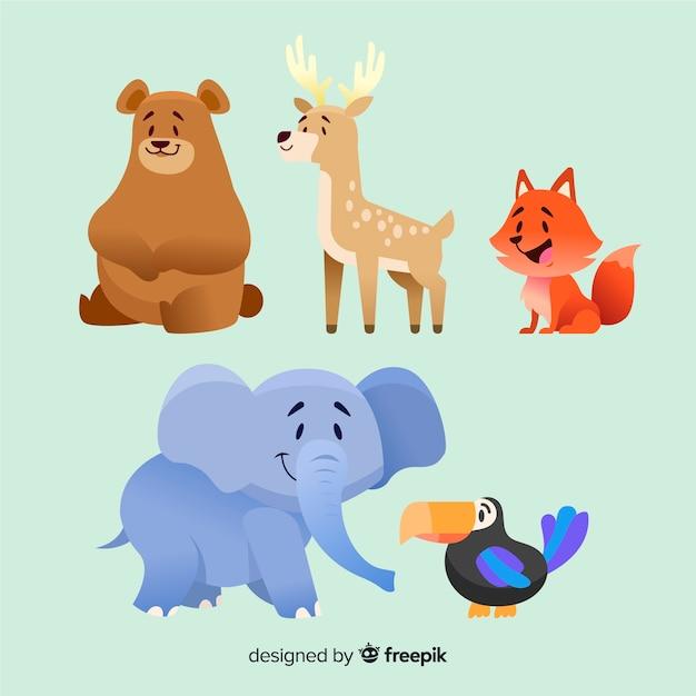 Projeto de coleção animal dos desenhos animados Vetor grátis