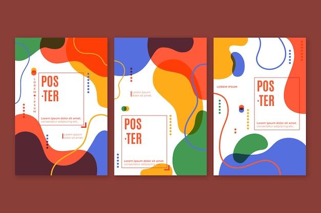 Projeto de coleção de capa colorida abstrata Vetor Premium