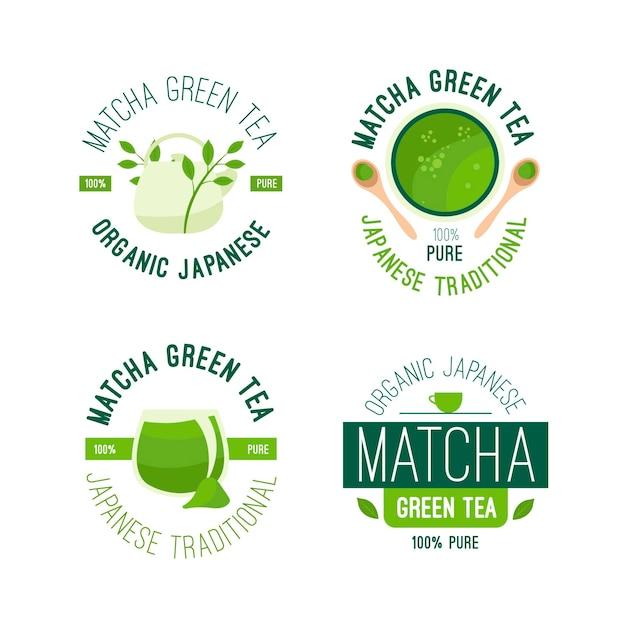 Projeto de coleção de distintivo de chá matcha Vetor grátis