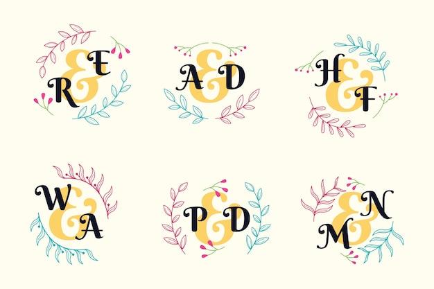 Projeto de coleção de monograma de casamento colorido Vetor grátis