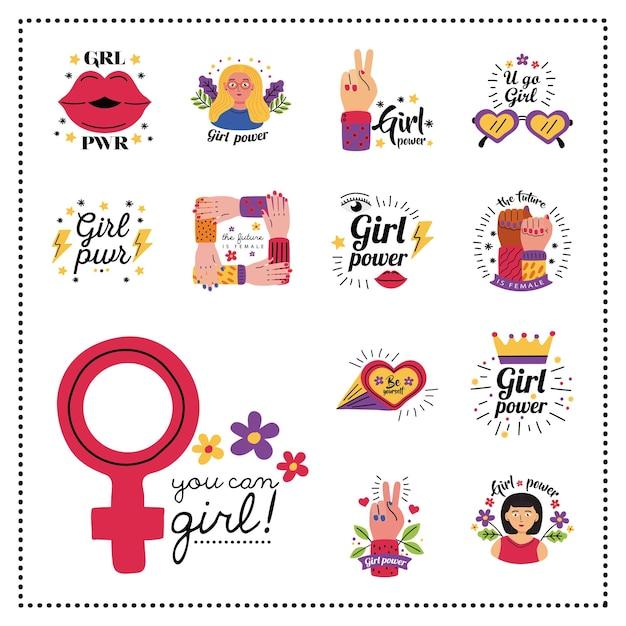 Projeto de coleção de símbolo de poder feminino de ilustração do tema de direitos e feminismo feminino de empoderamento da mulher Vetor Premium
