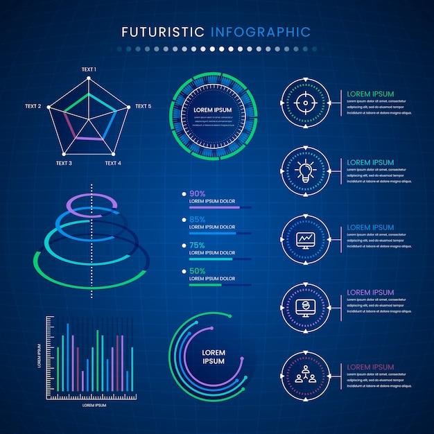 Projeto de coleção futurista infográfico Vetor grátis
