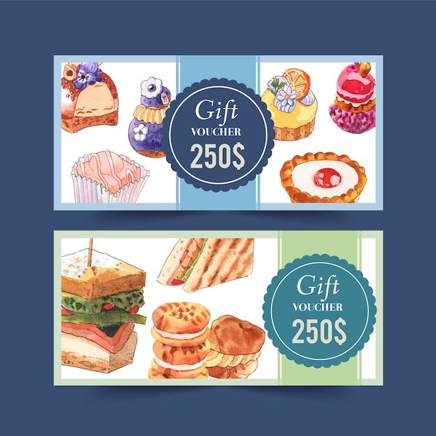 Projeto de comprovante de sobremesa com cupcake, sanduíche, ilustração em aquarela creme choux. Vetor grátis