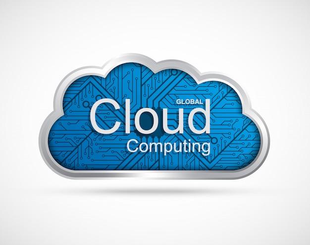 Projeto de conceito de computação em nuvem. Vetor Premium