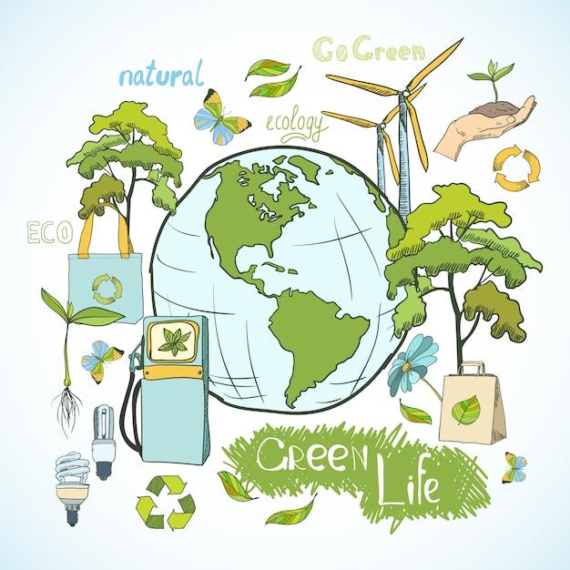 Projeto de conceito de ecologia e meio ambiente Vetor grátis