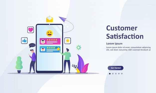 Projeto de conceito de satisfação do cliente, as pessoas dão resultados de revisão de votos Vetor Premium