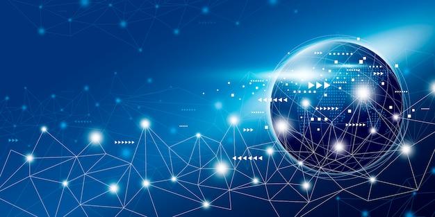 Projeto de conexão de rede global com espaço de cópia Vetor Premium