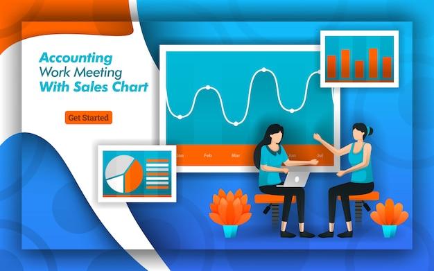 Projeto de contabilidade para reuniões com gráficos de vendas modernos Vetor Premium