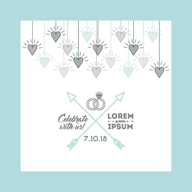 Projeto de convite de casamento Vetor Premium