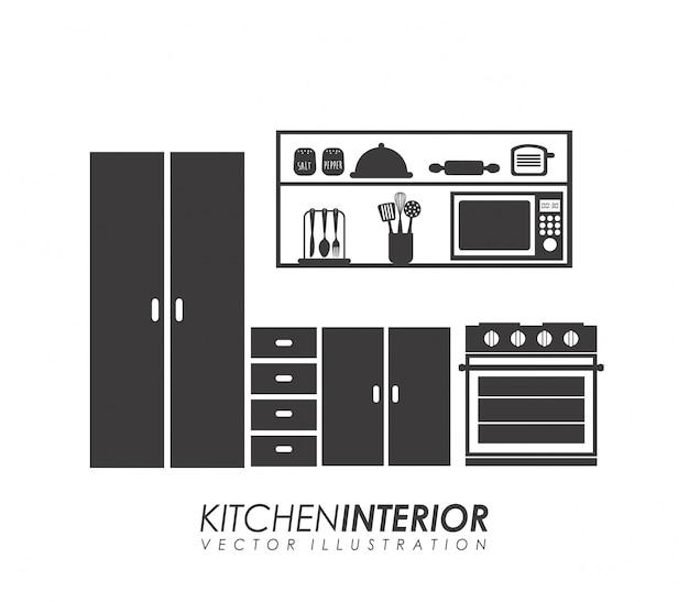 Projeto de cozinha sobre ilustração vetorial de fundo branco Vetor Premium