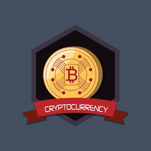 Projeto de criptomoeda com moeda bitcoin Vetor Premium