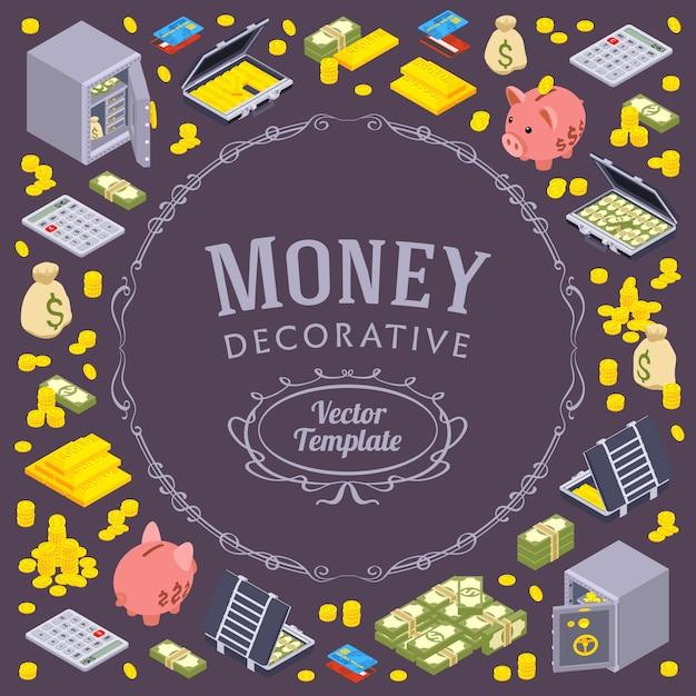 Projeto de decoração feito de objetos relacionados a finanças Vetor Premium