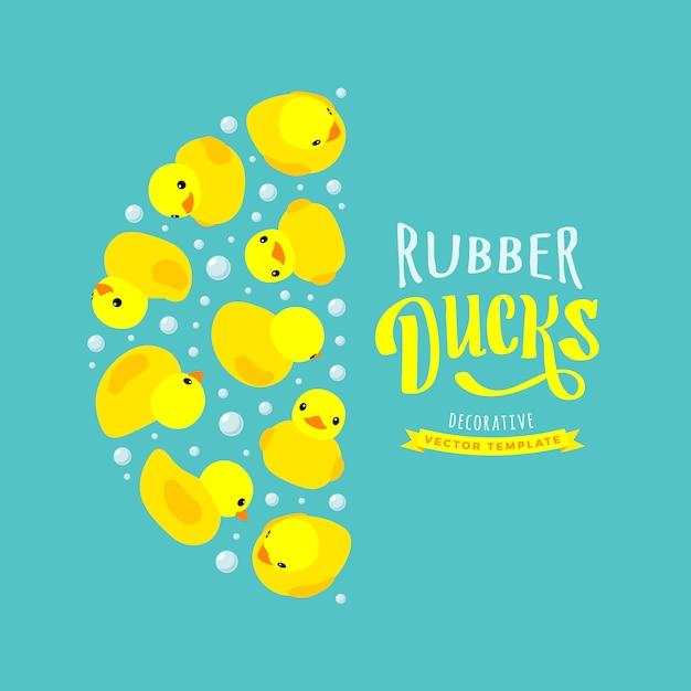 Projeto de decoração feito de patos de borracha amarela Vetor Premium