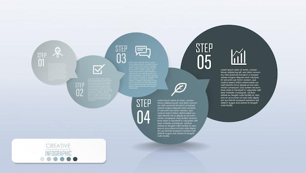 Projeto de diagrama de infográfico com fluxograma de processo de etapa Vetor Premium