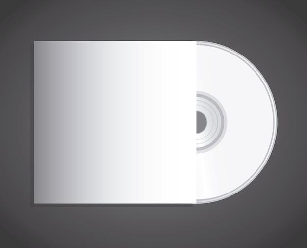 Projeto de disco compacto sobre fundo preto Vetor Premium