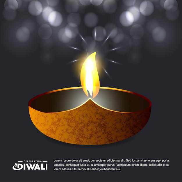 Projeto de diwali com fundo escuro e tipografia vector Vetor grátis