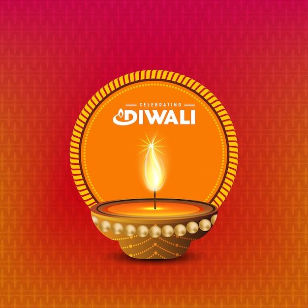 Projeto de diwali com luz de fundo e tipografia vector Vetor grátis