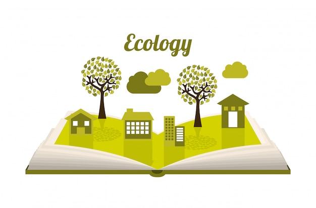 Projeto de ecologia sobre ilustração vetorial de fundo branco Vetor Premium
