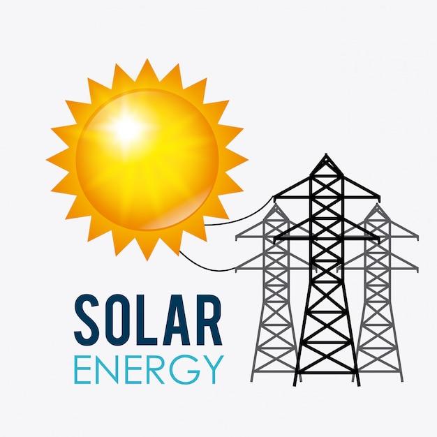 Projeto de energia solar. Vetor Premium