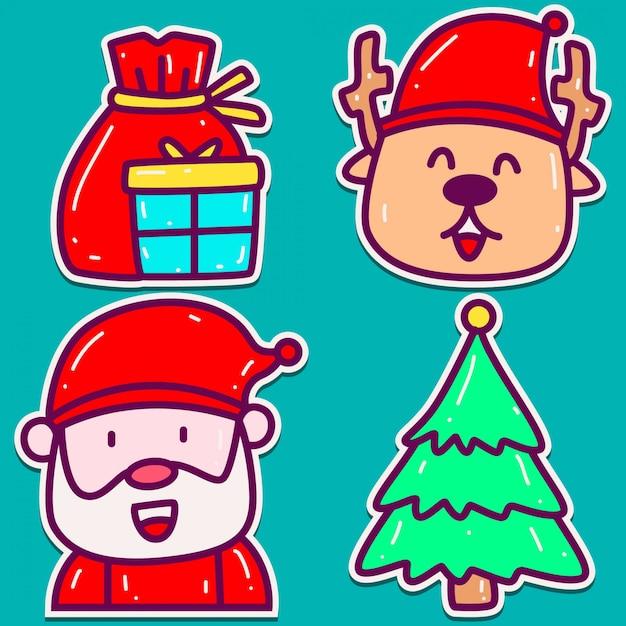 Projeto de etiqueta de doodle de natal Vetor Premium