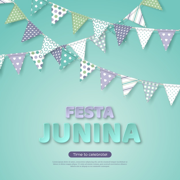 Projeto de férias festa junina. papel cortado letras de estilo com bandeira de estamenha no fundo turquesa claro. modelo para festa brasileira ou latina, festa Vetor Premium