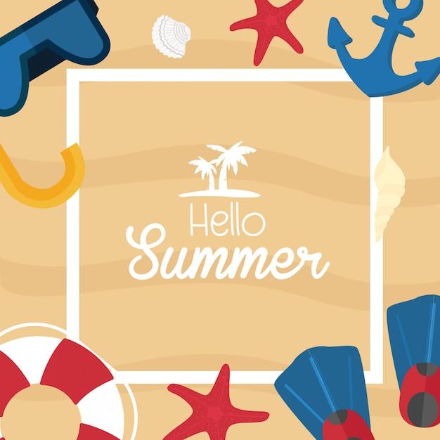 Projeto de férias tropicais de verão. costa do mar e acessórios de natação Vetor Premium