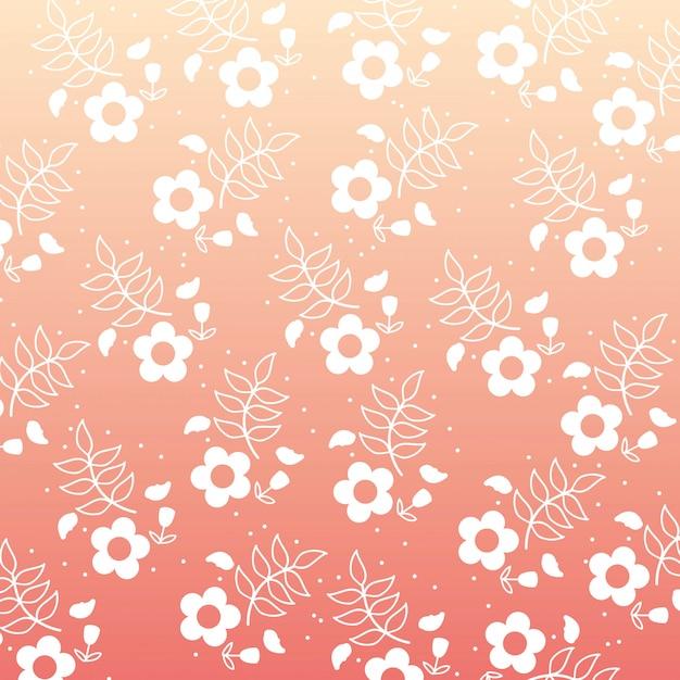 Projeto de flores sobre ilustração vetorial de fundo rosa Vetor Premium
