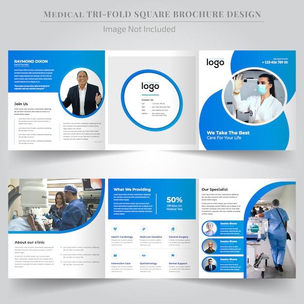 Projeto de folheto dobrável com três dobras quadrada médica Vetor Premium