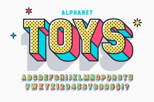 Projeto de fonte de exibição em quadrinhos 3d, alfabeto, letras e números. Vetor Premium