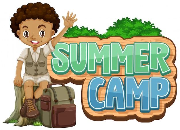 Projeto de fonte para acampamento de verão com gracinha no parque Vetor grátis