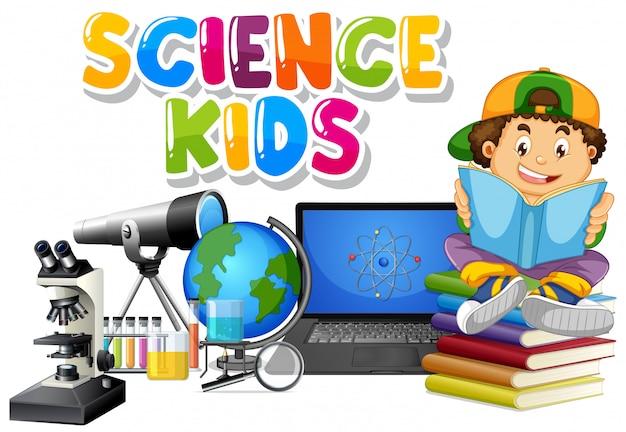 Projeto de fonte para crianças de ciência da palavra com livro de leitura do menino no fundo Vetor grátis