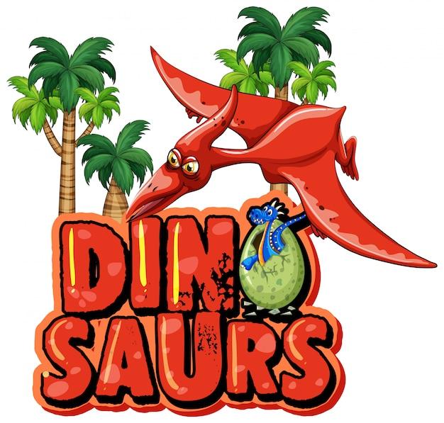 Projeto de fonte para dinossauro palavra com pteranodonte voando Vetor grátis