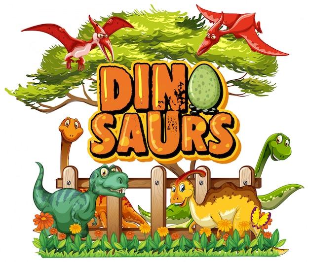 Projeto de fonte para dinossauros de palavra com muitos dinossauros no parque Vetor grátis