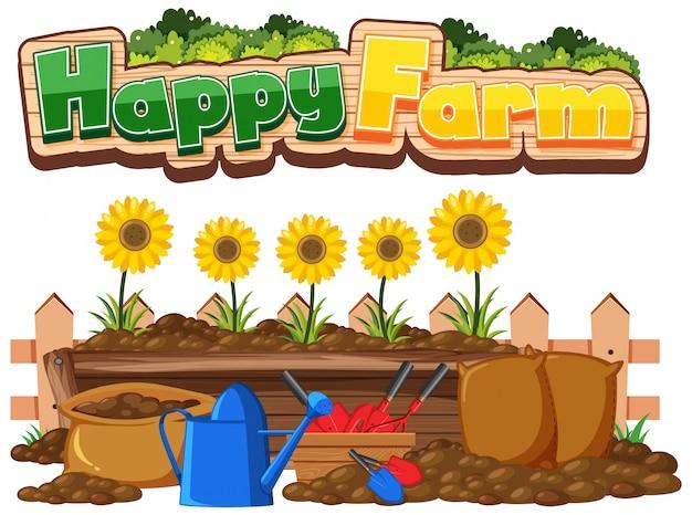 Projeto de fonte para fazenda feliz e girassóis no jardim Vetor Premium