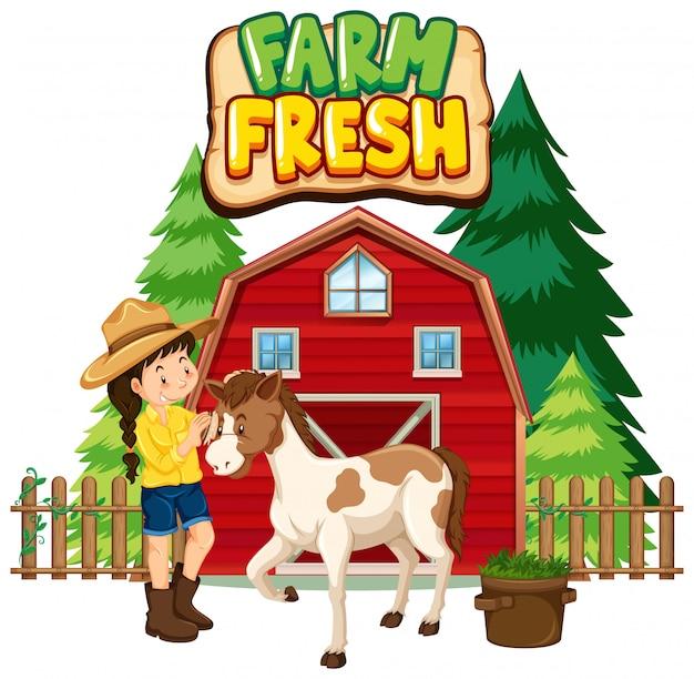 Projeto de fonte para fazenda fresca de palavra com fazendeiro e cavalo Vetor grátis