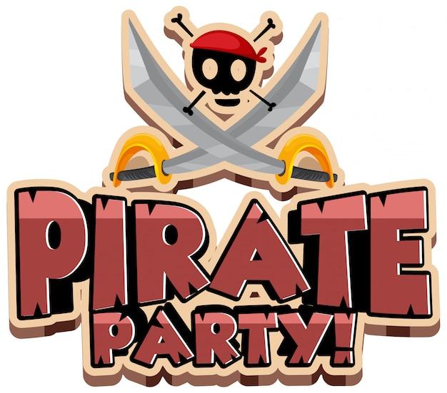 Projeto de fonte para festa de palavra pirata com espadas e caveira Vetor grátis