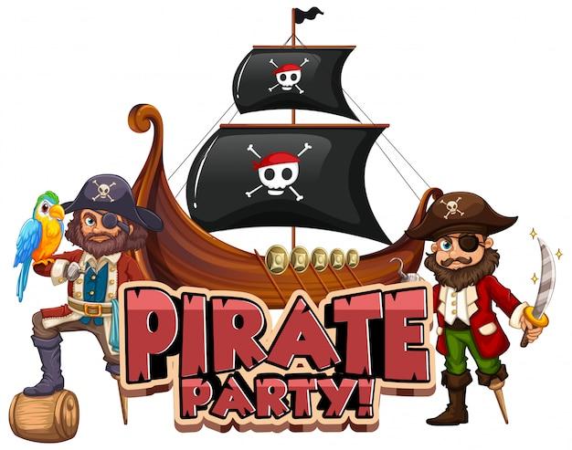 Projeto de fonte para festa de pirata de palavra com pirata e grande navio Vetor grátis